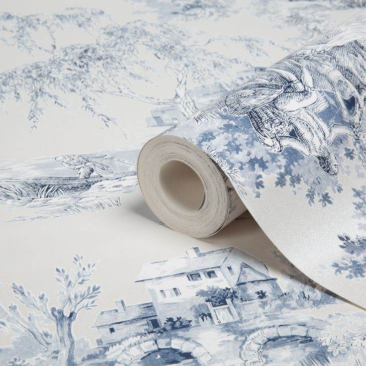 Gold Blue Toile Wallpaper | Departments | DIY at B&Q