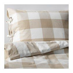 IKEA - EMMIE RUTA, Duvet cover and pillowcase(s), Full/Queen, , Yarn-dyed; the yarn is dyed before weaving; gives the bedlinens a soft feel.Decorative ribbons keep the comforter in place.You can easily vary the look in your bedroom with this duvet cover, because the sides have different patterns.