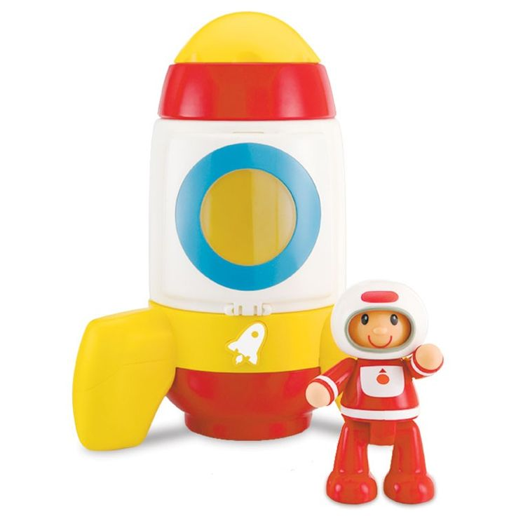 Open the spaceship door, put the toy astronaut inside, and blast off this ELC's toy rocket to the out-of-this-world imaginative play! Manufactured by ELC.