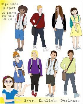 clipart clip student teen students boys tween cene pack sold middle teens realistic hallway them teacherspayteachers