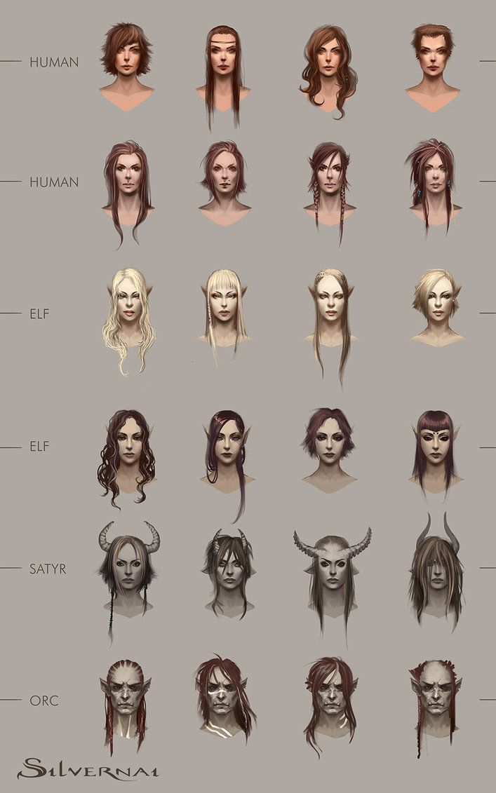 Haircut concept... <- prior pinner. I think this is game art or book... either way this is amazing in showing the differences in style and references. <3