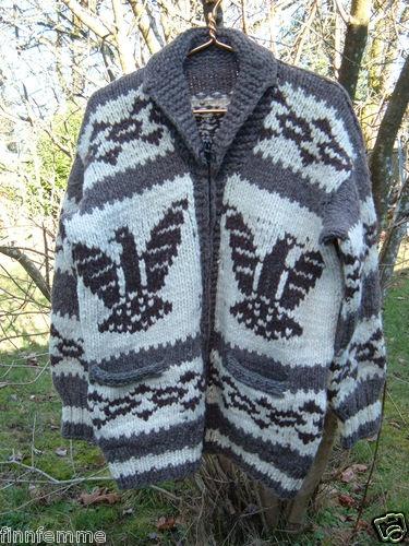 Vintage 70s Wool Indian Thunderbird Cowichan Sweater L Hand Knit Dude Lebowski | eBay