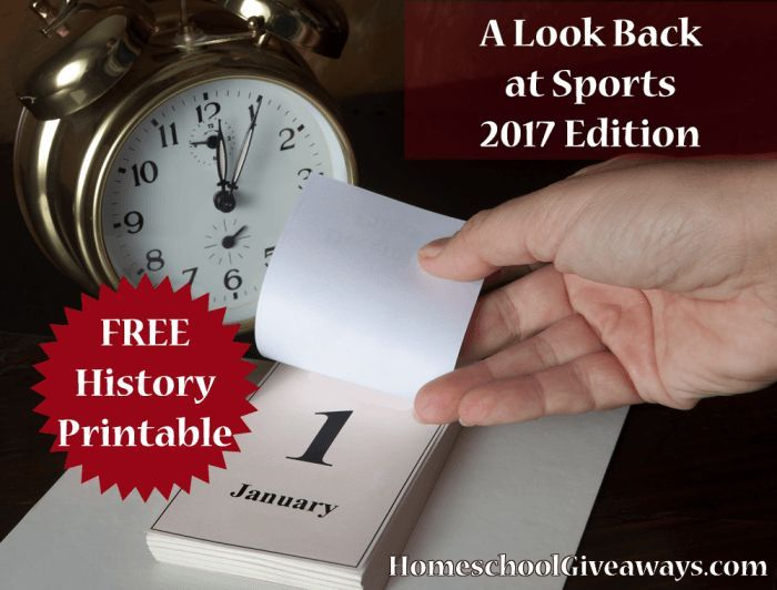 FREE A Look Back at Sports – 2017 Edition. How much does your student know about the greatest sports moments of the past 100 years? Take our farewell to 2017 sports quiz and find out! From baseball to football, swimming to horse racing, this FREE 8-page printable will stretch their memories and challenge their knowledge of history in a fun way!