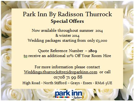 By Park Inn by Radisson Thurrock Hotel/Venue  @ThurrockParkInn  Wedding Special Offers http://www.parkinn.co.uk/hotel-thurrock