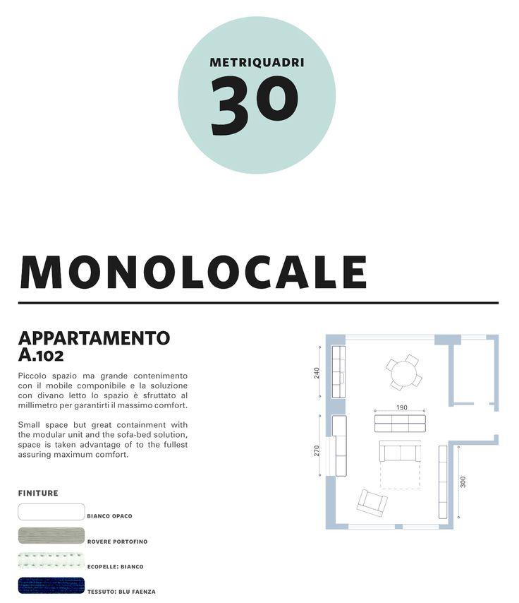 comp. A.102 - #arredamento #monolocale #30mq - soluzione arredamento completo per un appartamento o monolocale di 30 mq. sfruttato al millimetro...