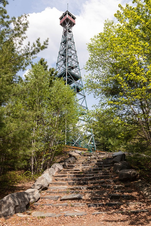 Caribou Mountain Lookout Tower at Temagami, Ontario. A 100 foot tower, 400 feet over Temagami and at 1300 feet above sea level, the highest point on Highway 11.