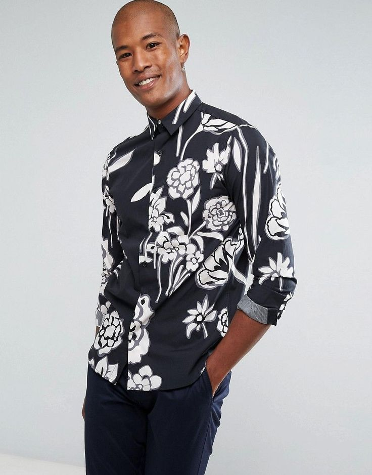 Selected Homme+ Shirt In Slim Fit With All Over Floral Print - Navy
