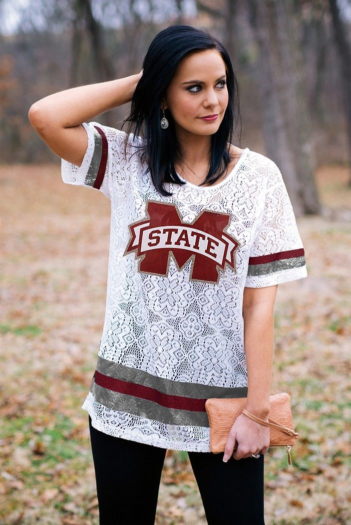 Mississippi State Crochet Lace Oversized Ladies Football Jersey