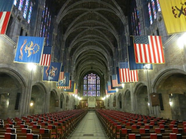 """Cadet Chapel, West Point Military Academy, West Point, NY. """"Wedding Factory"""" Cadet Chapel. While in school, cadets are not permitted to marry, and so the day after graduation, there's a rush to the alter.  via GetawayMavens.com"""