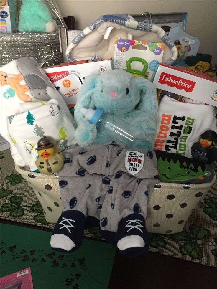 boy baby shower basket onsies stuffed animal rattles