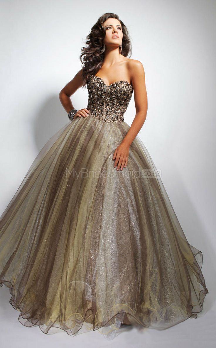 Brown Ball Gown Sweetheart Tulle Long Ball Dresses(NZJT06732)