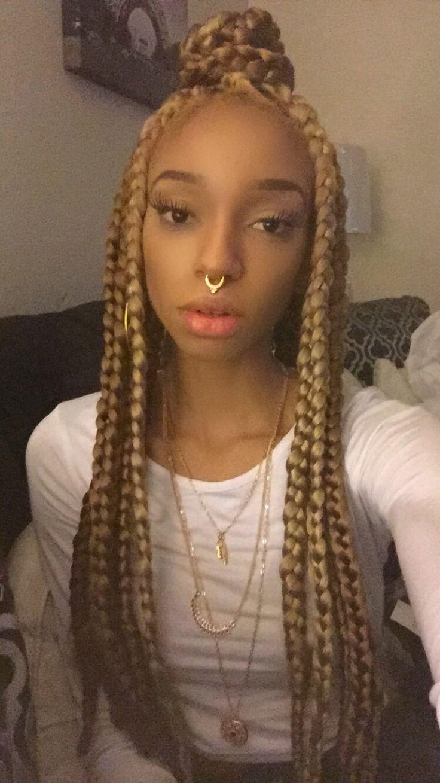 Half up half down box braids  Locs braids and twists  Pinterest  Box Braids Braids and