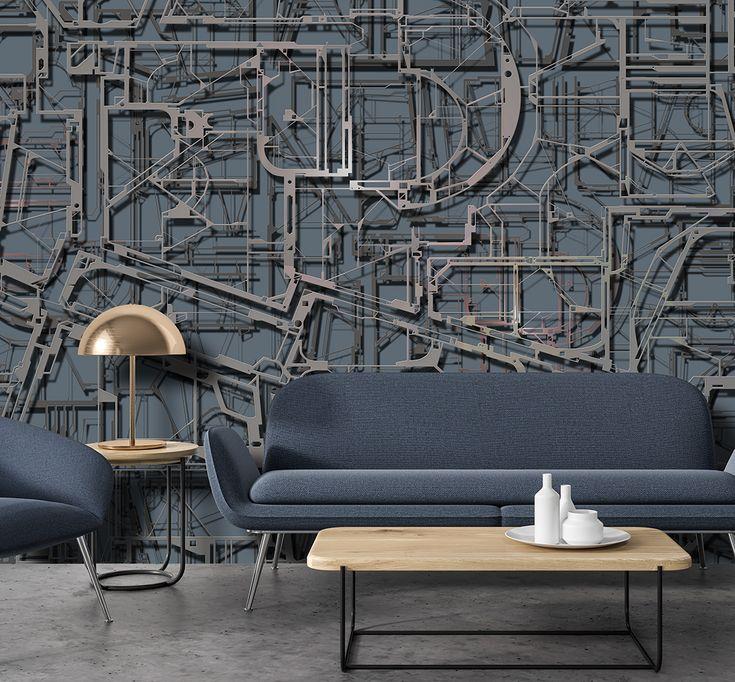Carta da parati con inserti metallici wallpapers for Carta da parati industrial