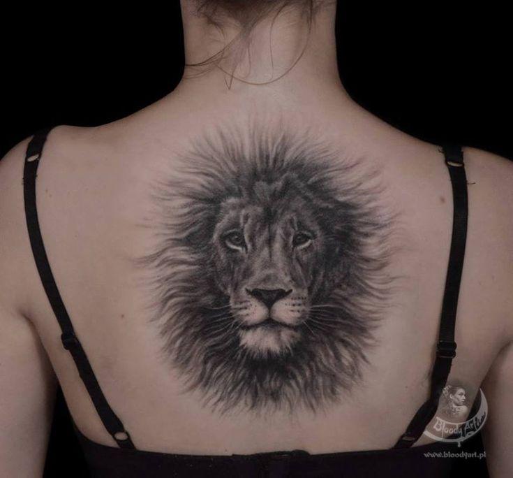 Fluffy Lion Back Tattoo http://tattooideas247.com/fluffy-lion-back-tattoo/