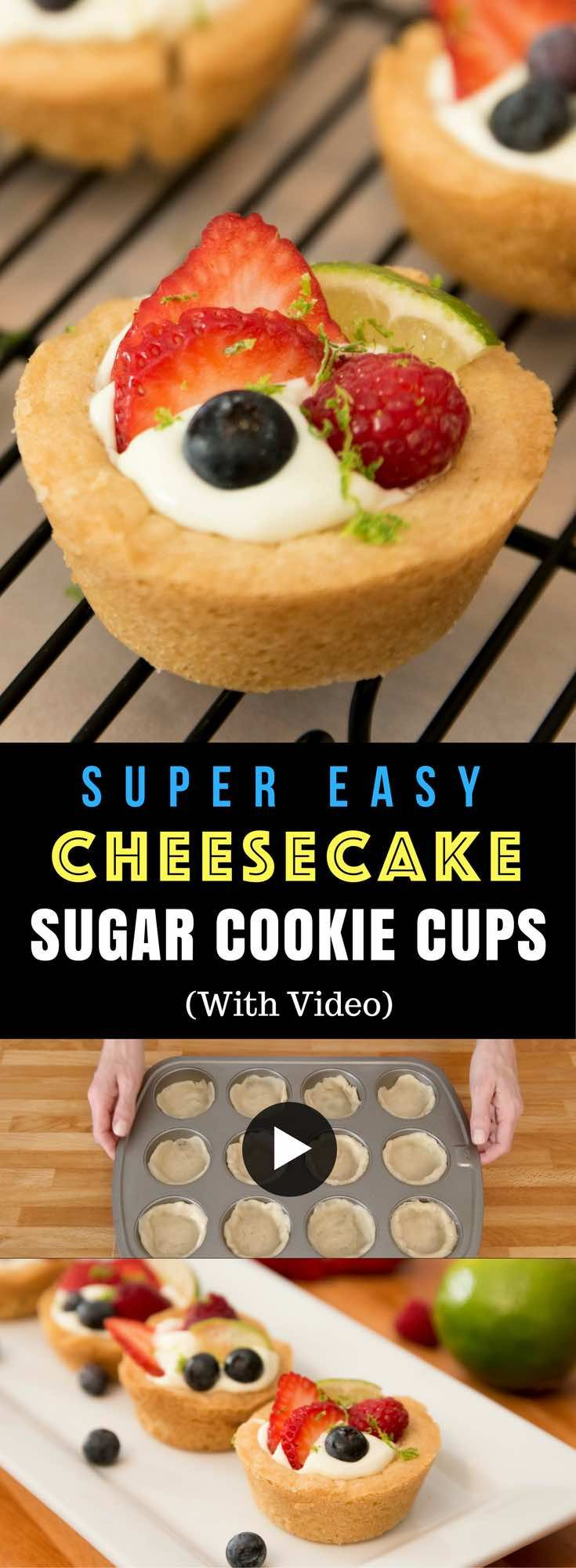 Mini Cheesecake Sugar Cookie Cupcakes – the most unbelievably delicious key lime pie cheesecake filling all nestled in easy soft and chewy sugar cookie crusts. All you need is only a few simple ingredients: Pillsbury sugar cookie dough, cream cheese, key lime greek yogurt, lime, vanilla extract, lime zest, strawberry, blueberry and raspberry. Crowd pleasing, make ahead dessert. Quick and easy, vegetarian. Video recipe.   tipbuzz.com