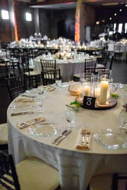 Beautiful Wood Glass And Pillar Candle Centerpieces Love A Candlelit Reception So Romantic