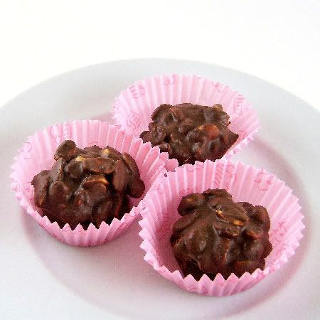 One Perfect Bite: Chocolate Peanut Clusters - Pink Saturday
