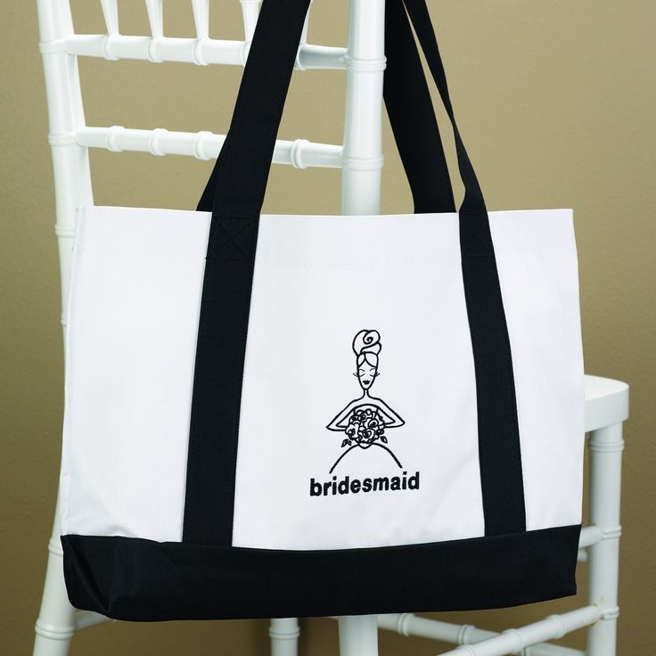 Bridesmaid White Canvas Tote Bag: $12.95 #Bridesmaid #Wedding