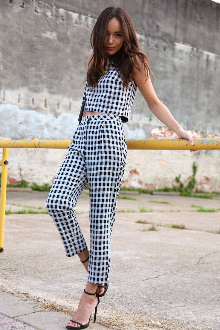 Gingham Top & Trousers: Topshop. Sandals: Saint Laurent. Bag: Céline.