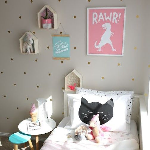 RAWR!!! This dinosaur is fierce! Available in pink for those who like dinosaurs and a bit of glam too. Also available in bold and graphic black & white that works in all children's bedroom decor. Come