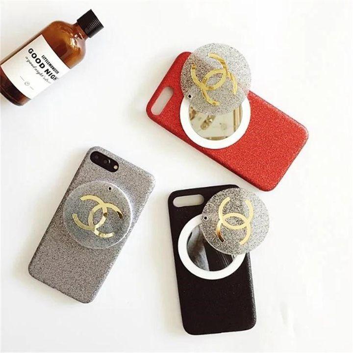 グリッター化粧鏡付きのシャネル風 アイホンx シリコン製 ケース iphone8/8PLUS ミラー付き ケース 実用で可愛い
