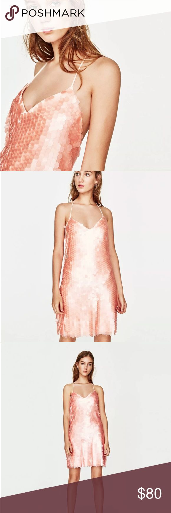 NWT Zara Coral Pink Matte Sequin T-back Dress A true show stopper!!! V-neck dress falling just above the knee with thin straps, T-straps in the back and matte sequins.  This item has a large fit. We recommend you buy a size smaller than your usual size. Zara Dresses Mini
