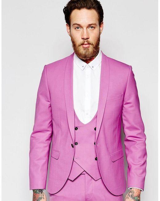 Latest Coat Pant Designs Hot Pink Men Suit Jacket Slim Fit 3 Piece