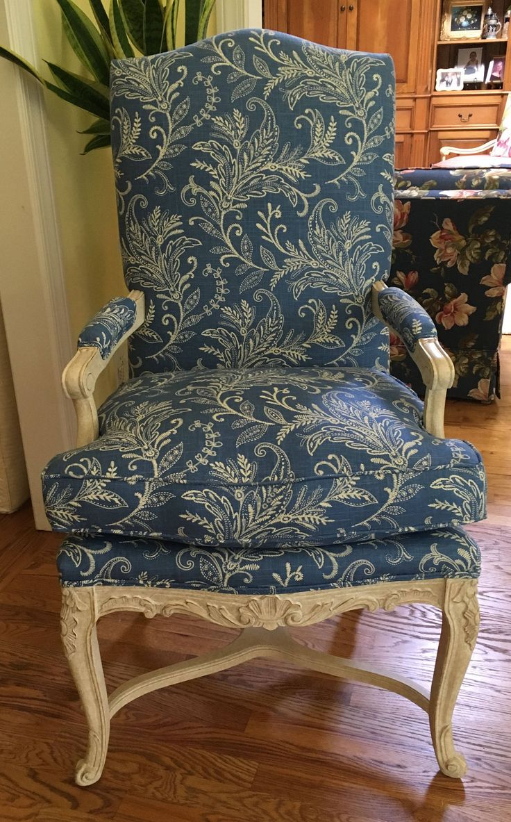 French Style Chair in Mill Creek Blue & White Pattern - Totally Refurbished by WydevenDesigns on Etsy