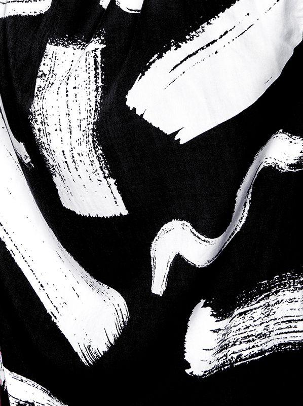 Monochrome painterly print with graphic brushstroke pattern; textile print design // Leta Sobierajski