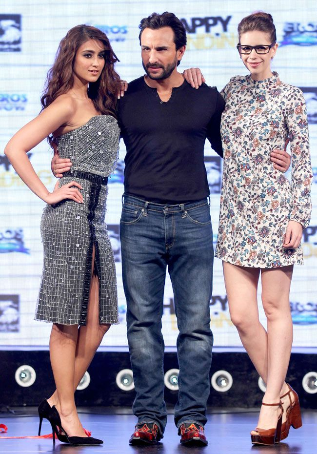 Saif Ali Khan with leading ladies Ileana D'Cruz and Kalki Koechlin at the music launch of 'Happy Ending'.