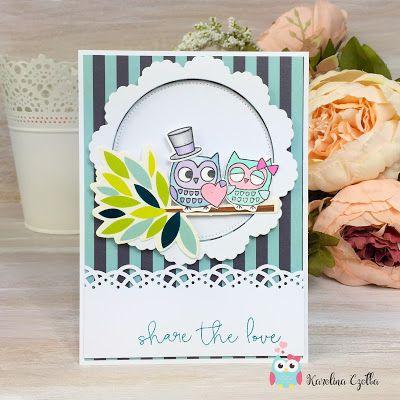 Blue Owl Avenue / DIY - scrapbooking - garden Kartka z okazji ślubu z sówkami z Penny Black, Stamps, #cardmaking #scrapbooking #kartka Share the love