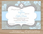 Baby Dreams Ornate Cross - Baptism Invitation Blue and Gray Grey - Boy Christening, Dedication, Blessing PRINTABLE Invitation Design