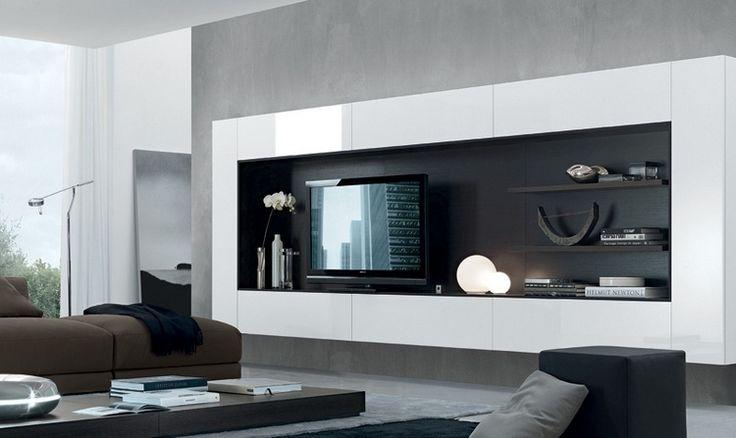 meuble tv suspendu rectangle blanc à dosseret noir mat