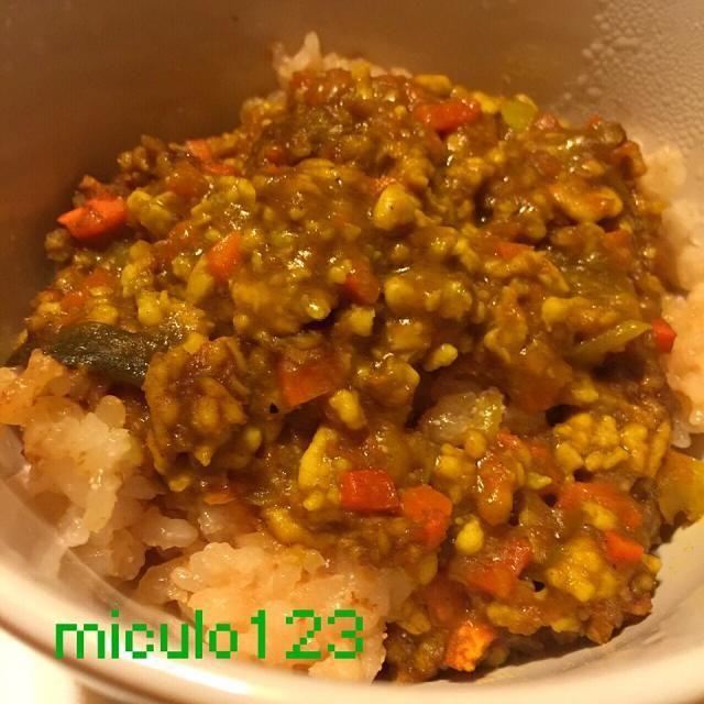昨日おこわを作ったからドライカレーかけてみた(◍•ڡ•◍)❤カレーは昨日のカレー鍋のリメイクで・・・ - 62件のもぐもぐ - のんのんさんの料理 切り餅で山菜おこわ◟̆◞̆♡ by miculo123