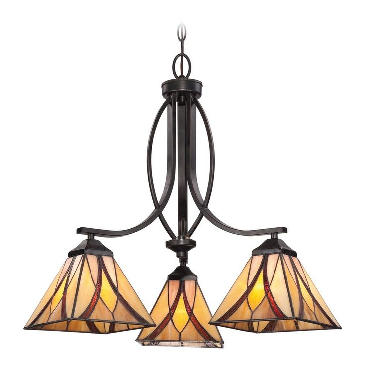 chandelier with multicolor glass in valiant bronze finish
