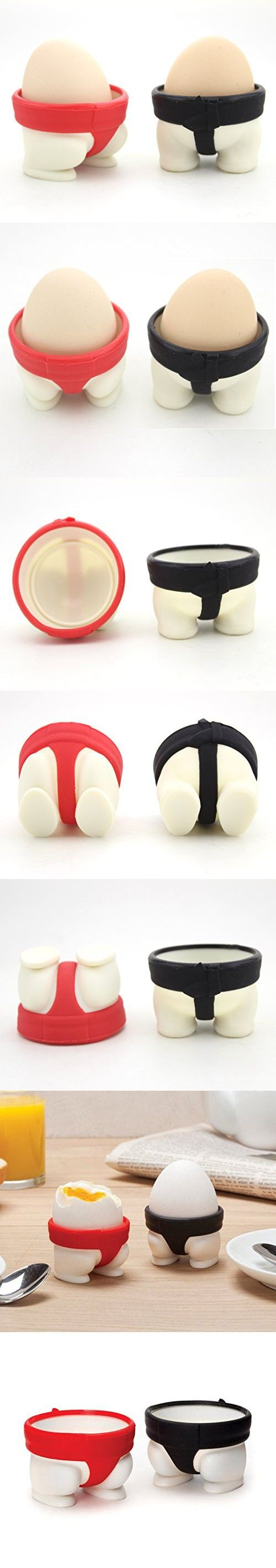 Set of 2 - ZICOME Creative Design Sumo Eggs Egg Cups (Black & Red) - More Fun for your Kitchen
