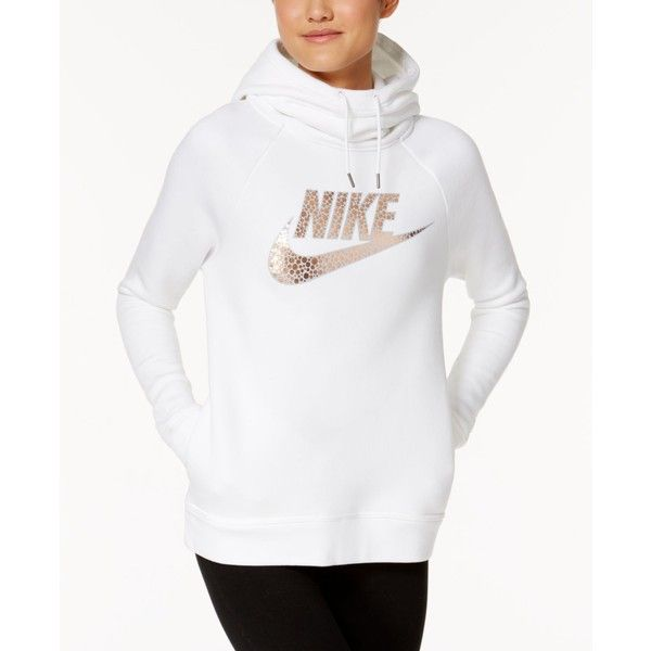 Nike Rally Metallic Funnel-Neck Hoodie ($65) ❤ liked on Polyvore featuring tops, hoodies, white, funnel collar hoodie, white hoodies, fleece hoodies, nike hoodies and nike top