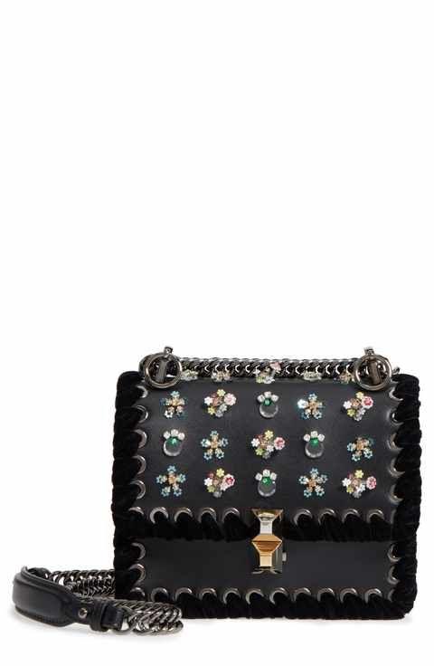 79e09707bc85 Fendi Mini Kan Beaded Flowers Calfskin Leather Shoulder Bag