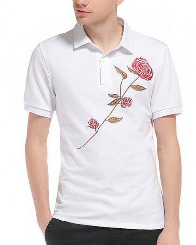 Rose flower embroidered polo shirt for men short sleeve