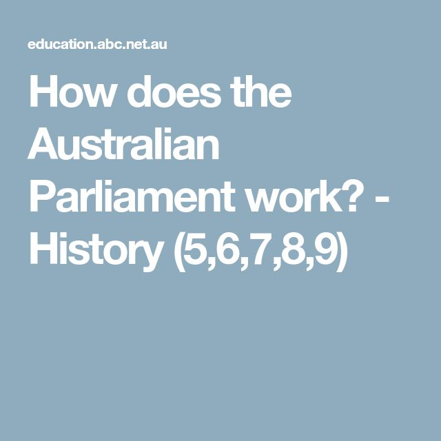 How does the Australian Parliament work? - History (5,6,7,8,9)