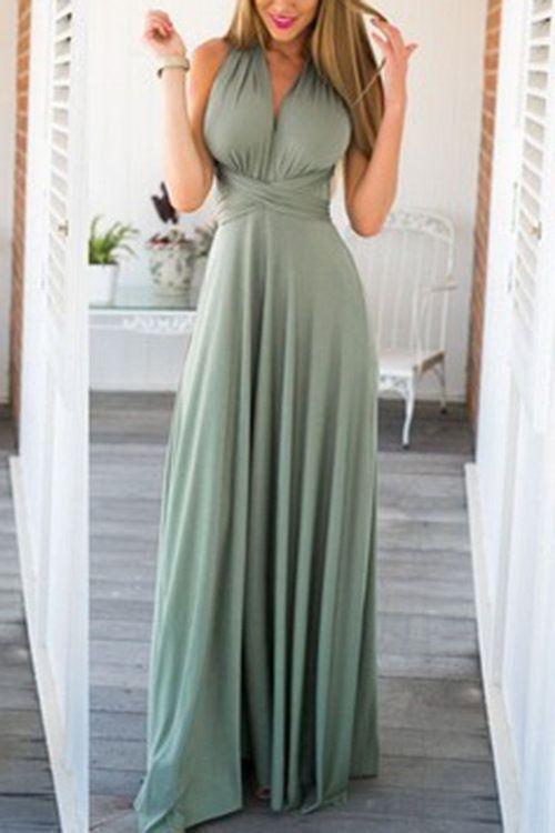 Серо-зеленый Многосторонние Self-Tie рукавов Maxi платье - US$29.95 -YOINS