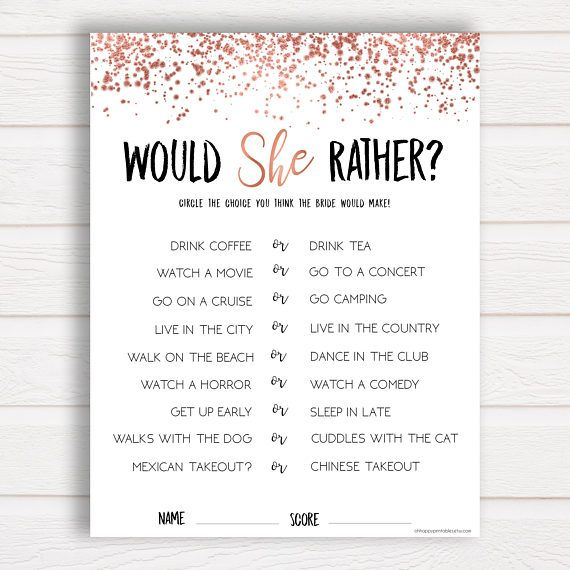 photo regarding Would She Rather Bridal Shower Game Free Printable titled Would She As a substitute, Rose Gold, Bridal Shower Game titles, Bridal