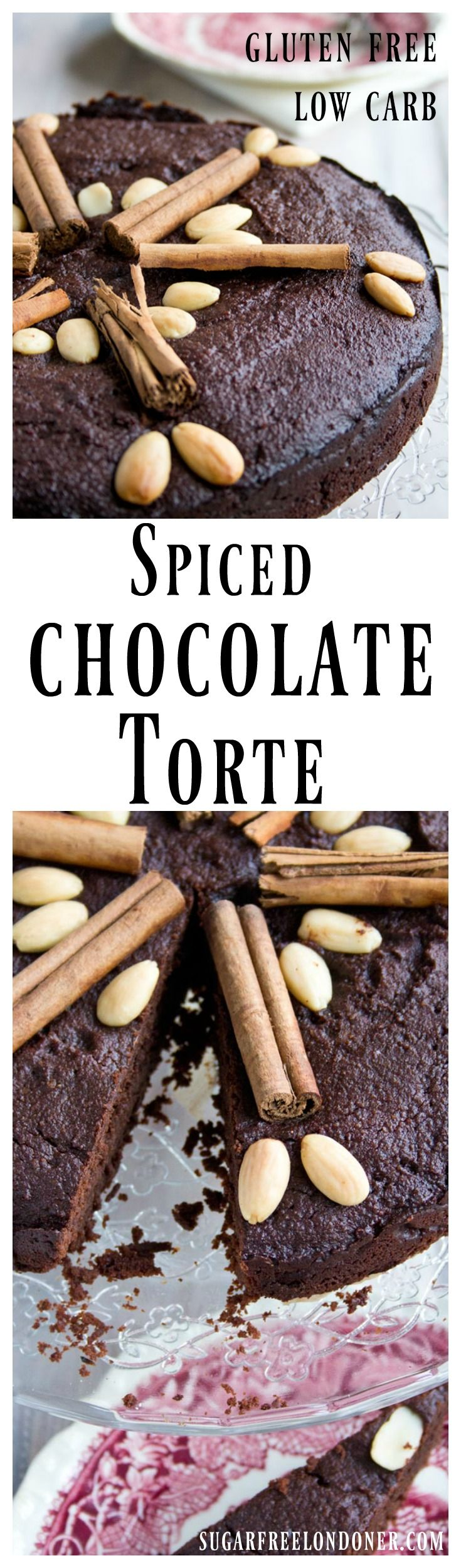 A festive treat without the sugar rush: This gluten free and moist spiced chocolate torte is sweetened with dates and erythritol. The perfect crowning glory for a special meal with notes of cinnamon, cardamom and cloves. Low carb and paleo