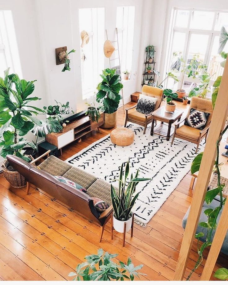 Plant Filled Living Room Hardwood Floors Scandinavian Design Living Room Natural Home Decor Interior Design Living Room Warm