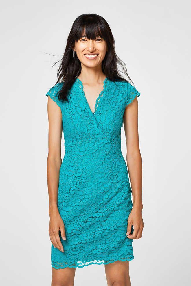 a97436e7f21548 Esprit - Kanten jurk met jersey voering kopen in de online shop ...