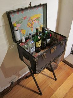Old Steamer Trunk Into A Bar   Google Search