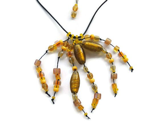 Beads necklace glass bead necklace yellow by Homeforglasslovers, $35.00