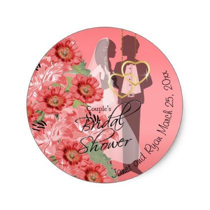 Gold Hearts on Coral Satin Couple's Shower Classic Round Sticker - wedding shower gifts party ideas diy cyo personalize