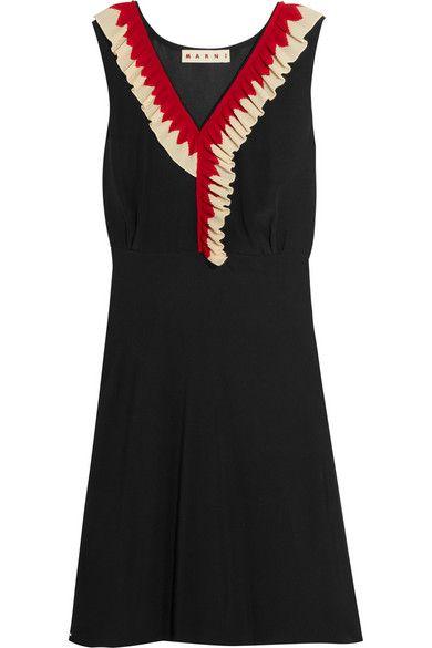 Marni | Ruffle-trimmed silk-crepe dress | NET-A-PORTER.COM