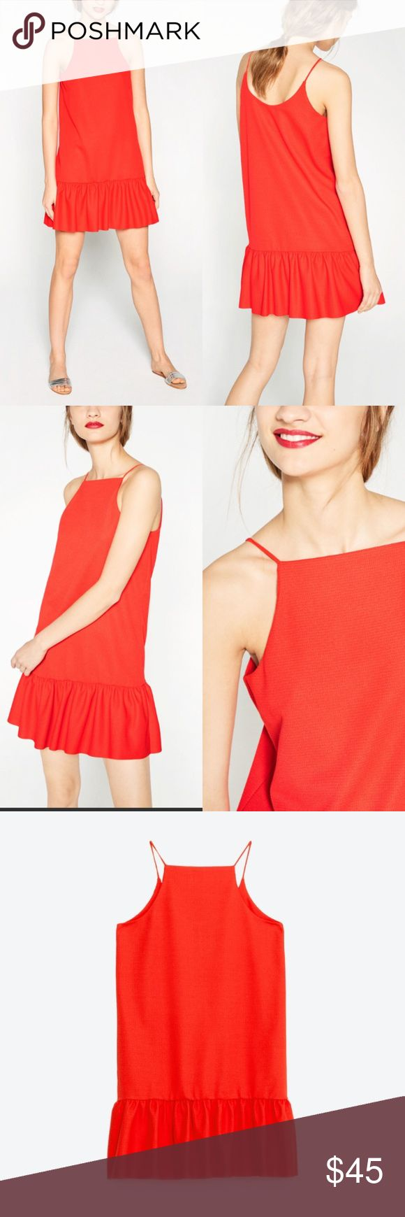 "Zara Dress Ruffle hem and effortless. Has stretch for easy pull in styling and fully lined. Great solo or with a jacket on chillier nights. 17.25"" underarm to underarm and 23.5"" L Zara Dresses"